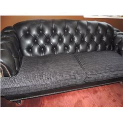 Black Leather Sofa with fabric seat cushions $250 to $500