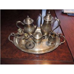 Pewter Platter, 2 Coasters, Candle Hldr, Sugar, Creamer, Coffee & Tea Pots $75 to $150
