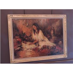 """Oil Painting, """"Young Mother"""", by Marilyn Bendell 36""""H by 48W - Signed $1800 to $2800"""