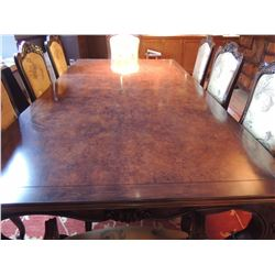 """Dining Table 8'L x 4'2""""W with 8 Upholstered Chairs AND 29"""" Extension on Each End of Table $1000 to $"""