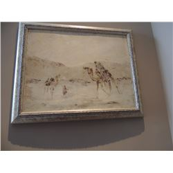 """Oil Painting, """"United-Men on Camels"""", by Sasdyup 16""""Hx20""""W-signed $150 to $300"""