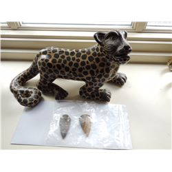 Leopard Sculpture and 2 Arrowheads $150 to $300