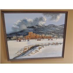 """Oil Painting, """"Unititled-Adobe Village in Winter"""", by Robert Perea - Signed 24""""H x 30W $200 to $400"""