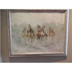 """Oil Painting, """"Untitled Arabian Horseman"""", by Sasdyup - Signed 16""""H x 20""""W $150 to $300"""