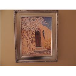"""Oil Painting, """"Canyon Road Courtyard"""", by Kathy Tate - Signed 14""""H x 11""""W $1500 to $2000"""