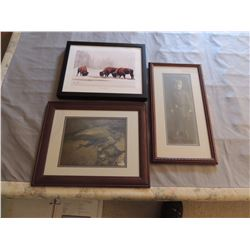 3 Misc Pictures (Bison, Girl & Fish) $35 to $70