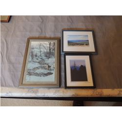 3 Misc Pictures (Creek, Night & Stage Coach) $35 to $70
