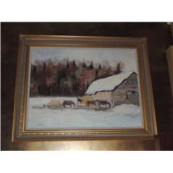 """Oil Painting, """"Untitled Barn Scene"""" by Troy Colin - Signed 30""""H x 40""""W $300 to $600"""