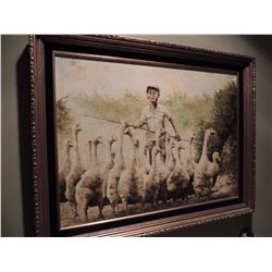 """Oil Painting, """"Untitled Boy Herding Geese"""" - 18""""H by 24""""W $125 to $250"""