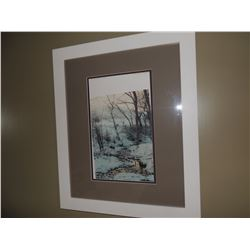 "Print of a Winter Scene by creek 23""H x 19""W $75 to $150"