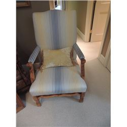 Upholstered Blue & Yellow Stripe Chair with Wood $125 to $250