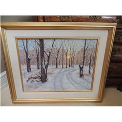 "Oil Painting, ""Snowy Road"", by Dave Hodges - 18""H x 24""W - Signed $1000 to $2000"