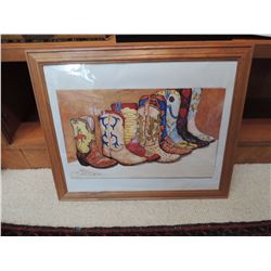 """Print of Cowboy Boots, """"Stepin Out"""", John Saunders #377 out of 450.  Signed. 22.5""""W x 18.5H $150 to"""