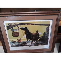 """Print of Old West   Horses & Indians #140 of 500 - Signed.  30""""W x 24""""H $75 to $150"""
