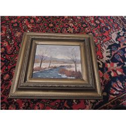 """Oil Painting, """"Landscape"""" by Larson - Signed.  8""""H x 10""""W $45 to $90"""