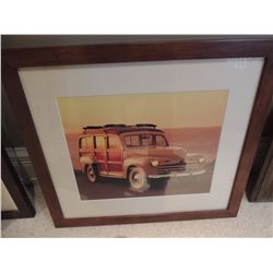 """Print of Old Car with Sunset.  20.5""""w x 18.5""""h $30 to $60"""