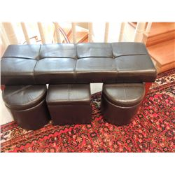 Bench with 3 Black Footstools $60 to $120