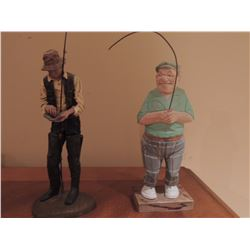 """2 Wooden Fisherman 9""""H $75 to $150"""