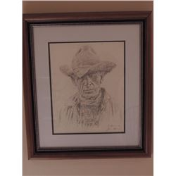 """Graphite Drawing, """"Cowboy"""" by James Bama - Signed 14.5H x 11.5W $750 to $1500"""