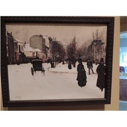 """Winter Horse & Buggy Downtown Scene - Signed. 17""""W x 13.75"""" H $75 to $150"""