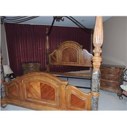 King Size Marble & Wood Bedroom Suite - Includes Headboard, Footboard, Rails, 2 Night Stands (1 has