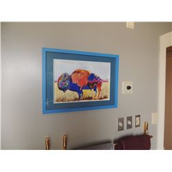 """Watercolor Print, """"Bison"""" by Barbara Keith.  Signed.  11.5""""H x 17""""W $150 to $300"""