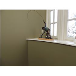 """Bronze sculpture, """"Fly Fisherman"""" by Dale Wood.  37""""H x 30""""W x 16""""D (Appraised for $1800)"""