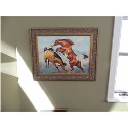 """Oil Painting, """"Fighting Stallions"""" by Keith 18""""H x 24""""W $250 to $500"""