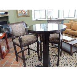 Round High Top Black Table w/ gold flecks with 2 Animal Print Chairs $250 to $400
