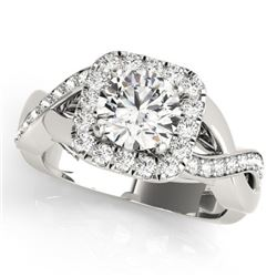 1.40 CTW Certified VS/SI Diamond Solitaire Halo Ring 18K White Gold - REF-235M3F - 26188