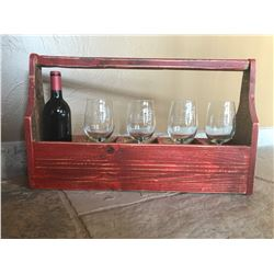 RMBS wine glasses and wine in wooden carrier