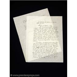 Chocolat Comte (ALFRED MOLINA) Handwritten Letter Movie Props