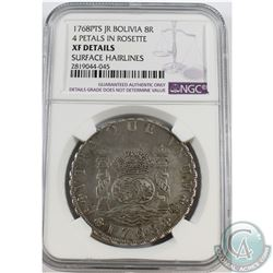 Bolivia; 1768PTS JR 8R 4 Petals in Rosette NGC Certified XF Details Surface Hairlines