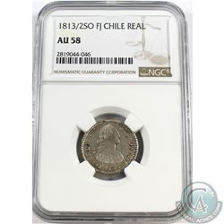 Chile; 1813/2SO FJ Real NGC Certified AU-58