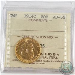 Canada 1914c Gold Sovereign ICCS Certified AU-55