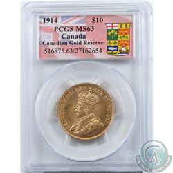 Canada 1914 $10 Gold PCGS Certified MS-63 'Canadian Gold Reserve'