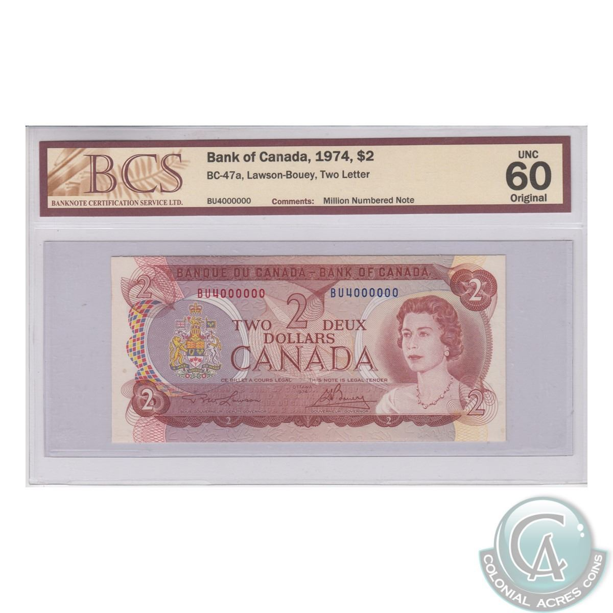 Bc 47a 1974 Bank Of Canada Million Numbered 2 Lawson Bouey S N