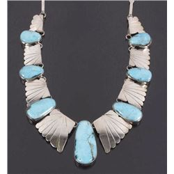 Signed Navajo Sterling & Turquoise Charm Necklace
