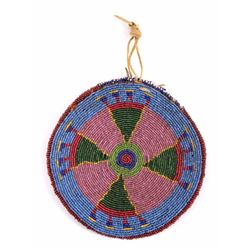 Cheyenne Indian Fully Beaded Round Pouch