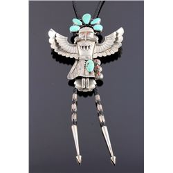Signed Navajo Ceremonial Sterling Kachina Bolo Tie