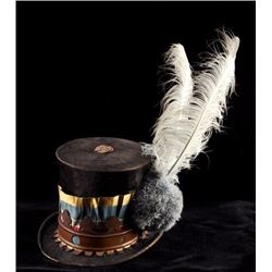 19th C. Osage Egret Plume Stove Pipe Top Hat