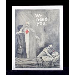 Original WWI Red Cross Poster 1918