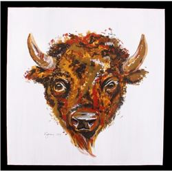 Acrylic Buffalo Head by Kyla Salisbury