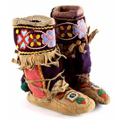 Crow Indian Beaded High Top Moccasins