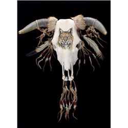Northern Plains Indian Bobcat Painted Steer Skull