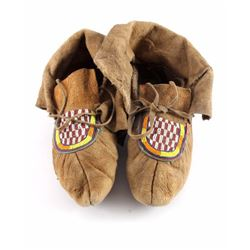 Northern Plains Moose Hide Beaded Moccasins