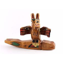 Northwest Coast Indian Carved Wooden Totem