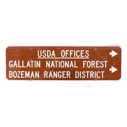 Southwest Montana Gallatin National Forest Sign