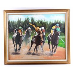 Original Oil on Canvas Horse Racing Painting