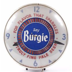 Say Burgie Spinning Light Up Clock Advertisement